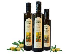 Bottiglie olio extravergine di oliva lavecchia vittoria frantoio ruscigno